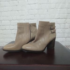 """Size 9 Taupe """"Leather"""" Booties Block Heel"""